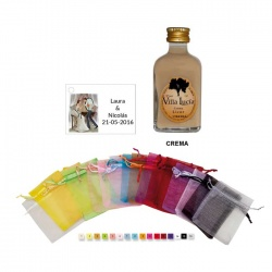 Licor crema en bolsa organza y tarjeta personalizada