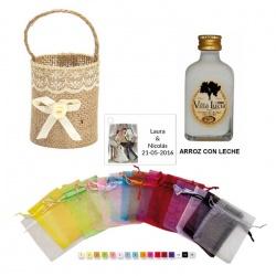 Licor Arroz con leche en cesta bolsa organza y tarjeta