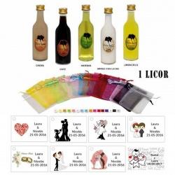 Pack licor con bolsa organza y tarjeta personalizada