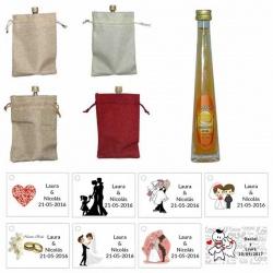 Licor mandarina en bolsa de saco y tarjeta