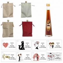 Licor de café con bolsa de saco y tarjeta