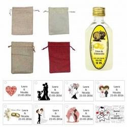 Lote Licor limoncielo con bolsa de saco con tarjeta