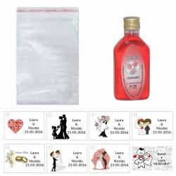 Licor de piruleta 50ml con bolsa de celofán y tarjeta