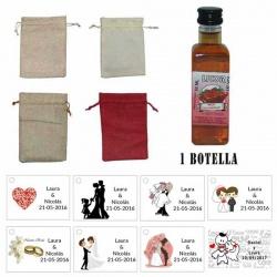 Licor Fresa con chocolate en una bolsa de saco y tarjeta