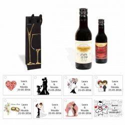 Tinto boda personalizado con caja elegante y tarjeta