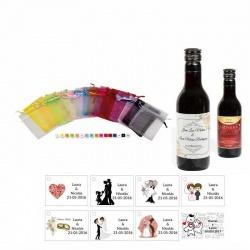 Tinto regalos boda personalizado con tarjeta y bolsa organza