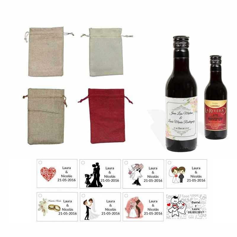 Tinto regalos boda personalizado con tarjeta y bolsa saco