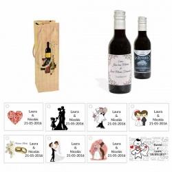 Tinto detalles boda personalizado con caja original y tarjeta