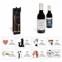 Tinto detalles boda personalizado con caja elegante y tarjeta