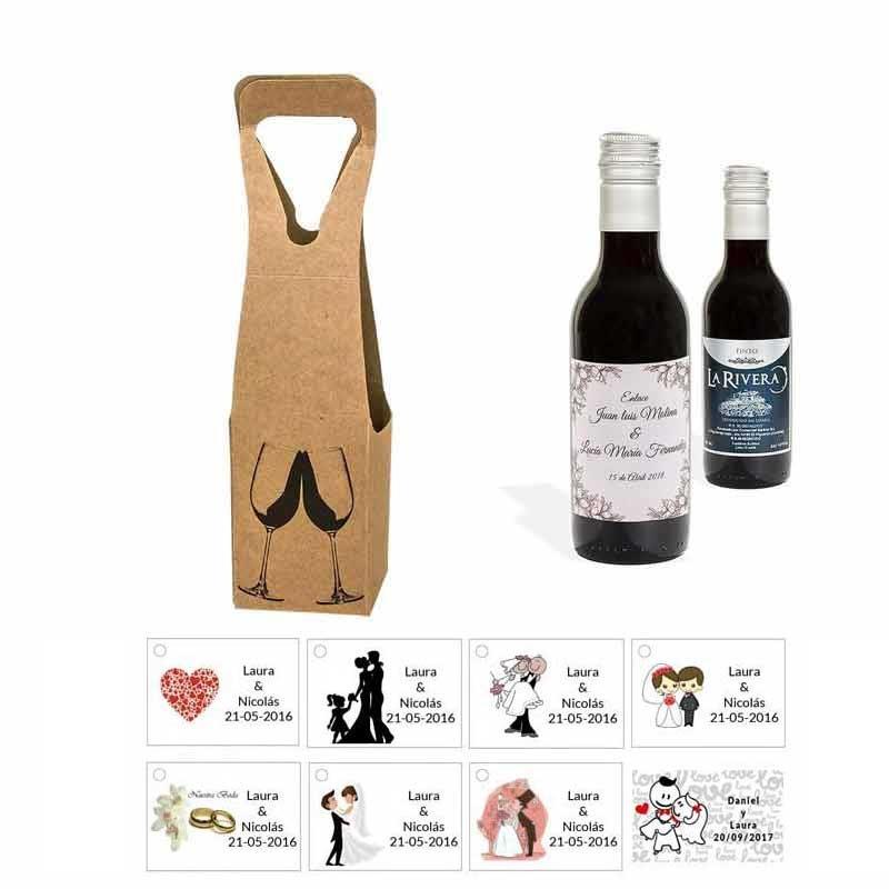 Tinto detalles boda personalizado con tarjeta y caja