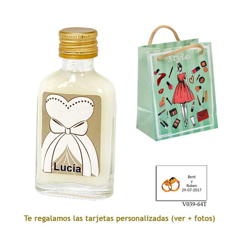 Licor de crema 20 ml con etiqueta de novia y bolsa con mujer y maquillaje