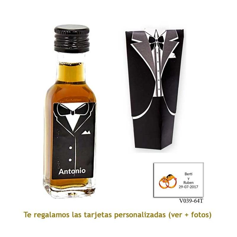 Licor de café 20 ml con etiqueta de novio y caja con traje de novio