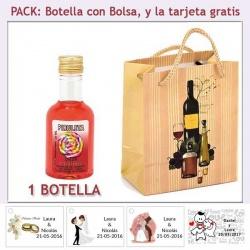 Botellita de Licor de Piruleta con bolsa y tarjeta