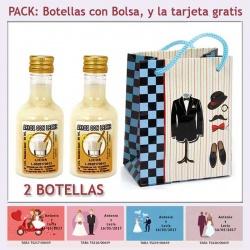 2 Botellitas de Licor de Arroz con Leche con bolsa y tarjeta