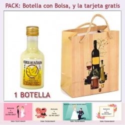 "Botellita de Licor de Crema de Plátano con bolsa ""bodegón"" y tarjeta"