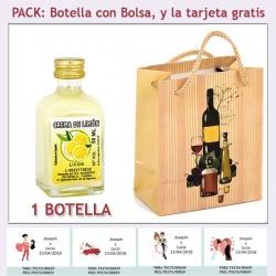 """Botellita de Crema de Limón con bolsa """"bodegón"""" y tarjeta"""
