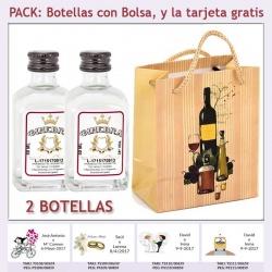 "2 Botellitas de Ginebra Blanca con bolsa ""bodegón"" y tarjeta"