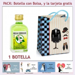 "Botellita de Licor de Finas Hierbas con bolsa ""charlestón"" y tarjeta"