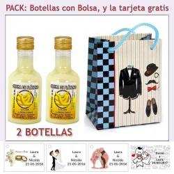 """2 Botellitas de Licor de Crema de Plátano con bolsa """"charlestón"""" y tarjeta"""