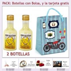 2 Botellitas de Licor de Crema de Plátano con bolsa con moto roja y tarjeta