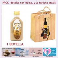 "Botellita de Licor Crema con bolsa ""bodegón"" y tarjeta"