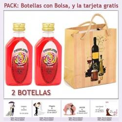 """2 Botellitas de Licor de Piruleta con bolsa """"bodegón"""" y tarjeta"""