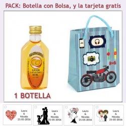 """Botellita de Licor de Mandarina con bolsa """"con moto roja"""" y tarjeta"""