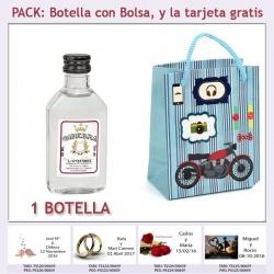 """Botellita de Ginebra Blanca con bolsa """"con moto roja"""" y tarjeta"""