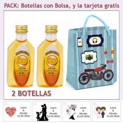 """2 Botellitas de Licor de Mandarina con bolsa """"con moto roja"""" y tarjeta"""