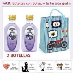 """2 Botellitas de Ginebra de Mora con bolsa """"con moto roja"""" y tarjeta"""