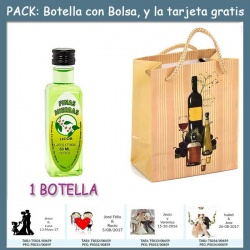 "Botellita de Licor de Finas Hierbas con bolsa ""bodegón"" y tarjeta"