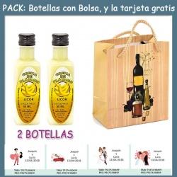"2 Botellitas de Licor de Crema de Plátano con bolsa ""bodegón"" y tarjeta"