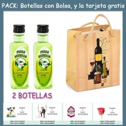 "2 Botellitas de Licor de Finas Hierbas con bolsa ""bodegón"" y tarjeta"