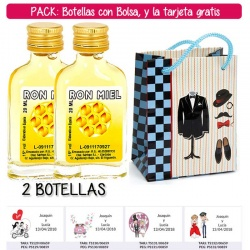 "2 Botellitas Petaca de Ron Miel con bolsa ""charlestón"" y tarjeta"