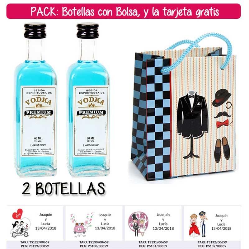 """2 Botellitas 60ml de Vodka Premium con bolsa """"charlestón"""" y tarjeta"""