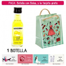 "Botellita de Limoncielo con bolsa ""fashion con mujer"" y tarjeta"
