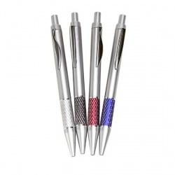 Bolígrafos plateados franja color surtido (precio unidad)