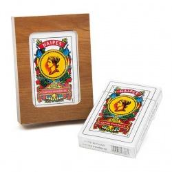 Baraja de cartas española en caja de madera