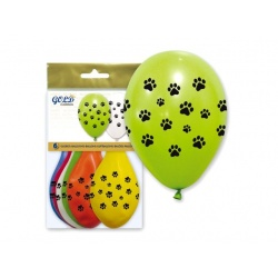 "Bolsa 6 globos huellas ""IT5"" (25 x 32 cm.)"