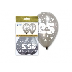 "Bolsa 6 globos metalizados plata ""25 aniversario""""IT5"" (28 x 32 cm.)"