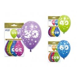 """Bolsa 6 globos números colores surtidos """"IT5"""" (29 x 36 cm.)"""