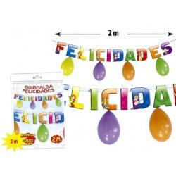 guirnalda globos felicidades (2 mts.)(ø 24 cm.)