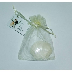Jabón forma de concha en bolsa con tarjeta