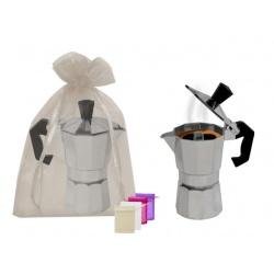 cafetera de metal 1/2 taza + bolsa tull lisa(8944)
