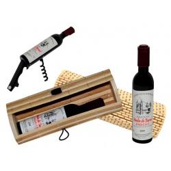 abrebotellas botella de vino + caja mimbre (8520)