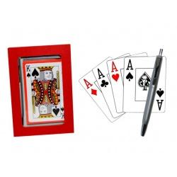 Estuche de madera rojo baraja poker y boli