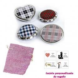 Espejos plateados con cuadros escoceses, con bolsa de saco rosa y tarjeta personalizada