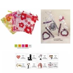 Espejo y boli en bolsa y tarjeta personalizada regalos boda