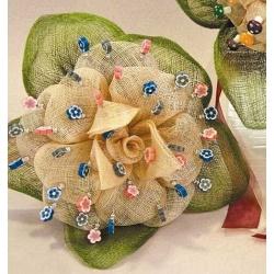Flor Sinamay beig-verde (alfileres no incluidos)