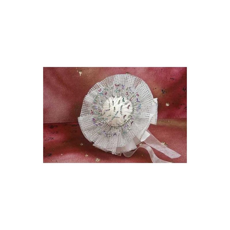 Bouquet plata y organza (no incluye alfileres)
